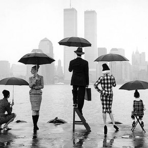 Twin Towers in a rainy day during fashion week